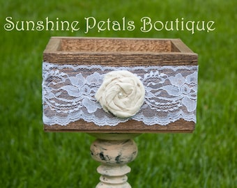 Lace wrapped stained rustic wood box with cotton/burlap twirled rose with pearl center