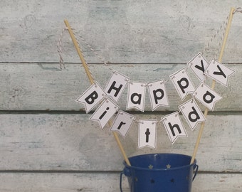 """Cake Bunting, """"Hipster"""" White with Black letters,  Happy Birthday, Cake Topper"""