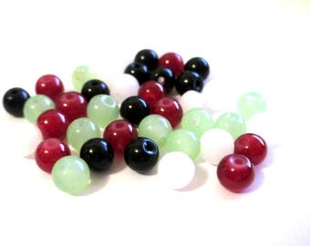 40 glass beads mix color 6mm