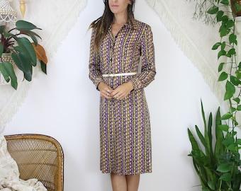 70s Patterned Shirtdress, Geometric Mod Long sleeve Day dress, Medium 4300