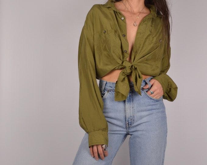 SALE Vintage Olive SILK Shirt