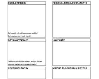 ER Shopping List - Young Living - Printable