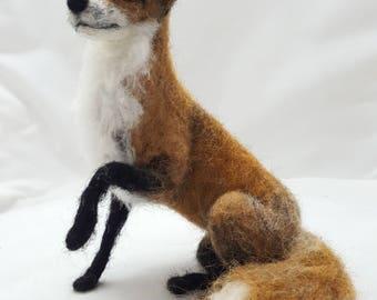 Needlefelted Fox Wool Sculpture