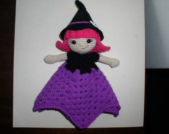 little witch with her purple crochet doily