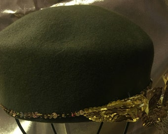 1960's Moss Green Wool Pillbox Style Hat Accented with Gold Sequin Flower