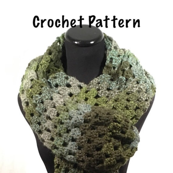 Crochet Pattern Green Striped Crochet Super Scarf Granny Super