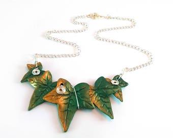 Elven Ivy Necklace, Polymerclay Necklace, Ivy Leaf Necklace, Bridal Necklace, Statement Necklace, Handfasting Necklace, LARP Necklace, LOTR.