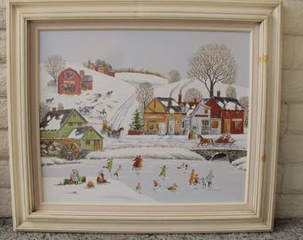R. Smith Original Oil Painting Upstate New York New England Snowy Landscape Ice Skating On Pond American Town Collectible Artist Signed