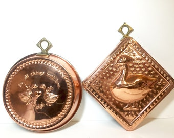 Vintage Copper Cook's Bazaar Molds Made in Korea . Farmhouse Style Decor Wall Hangings