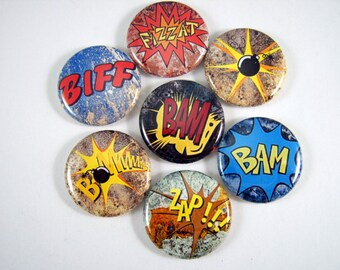 """1"""" Inch Comic Book Quotes Flatback Buttons, Pins, Magnets 12 Ct. Style A"""