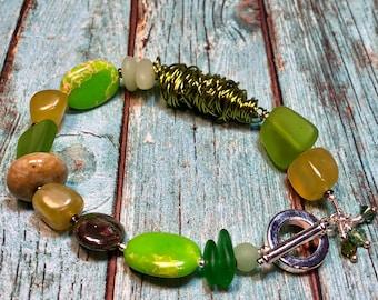 chunky beaded statement bracelet  - unique boho luxe jewelry - HARMONY bracelet - great gift idea  - all occasion wear