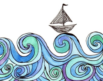 Boat Cards - Sailboat on Waves Watercolor Painting - Stained Glass Blue and Green Ocean Art with Boat Silhouette, 5x7 Print