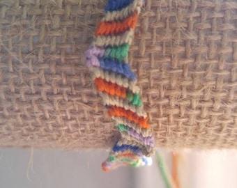 Rainbow and beige zigzag pattern friendship bracelet