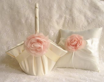 Large Flower Girl Basket,  Ivory Cream Blush Flower Girl Basket and Ring Pillow, Ring Bearer Pillow,  Flower Girl Basket Set
