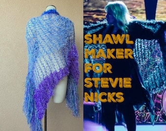 Light Weight Shawl Fairytale Gift Blue and Purple Wrap Shawl Wrap Lace Shawl in Lightweight Lavender Royal Blue, Sky Blue Stevie Nicks Shawl