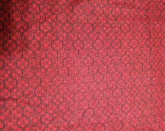 Red Chicken Wire Fabric by Anderson Farm by Leanne Anderson 100% Cotton