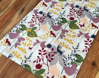 Fall animal and foliage table runner, otomi table runner, floral and fauna