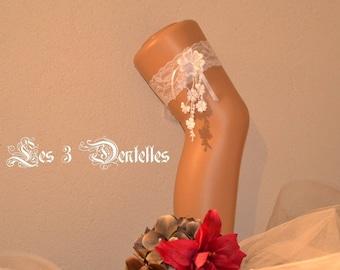 White lace wedding garter * flower lace * custom