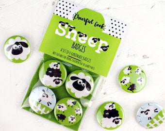 Sheep Badges, Sheep Pins, Black and White Sheep, Funny Sheep, Stocking Fillers, Small Gifts, Farm Animal Badges, Black Sheep, Counting Sheep