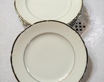 Vintage Towne Monte Carlo Bread Plate Set of 6 White Platinum Replacement Japan Panchosporch