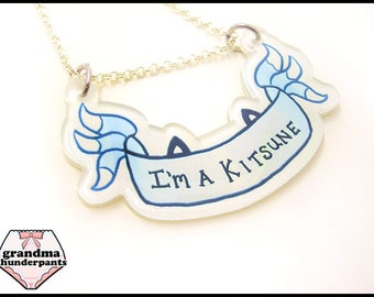 I'm a Kitsune Necklace, Fox, Foxes, Fursuit, Furry, Foxy, Magic Fox, Kitsune Necklace, Nine Tailed Fox