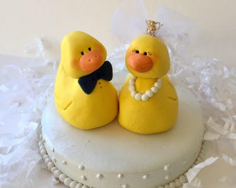 Duckie Bride and Groom Wedding Cake Topper/wedding cake/yellow duckie /rubber duckies