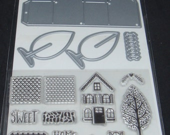Art C Stamp and Cut- Clear Stamps and Dies *Mini House* 15 pieces
