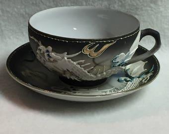 Dragonware Moriage Cup and Saucer (San Francisco Souvenir) (#024)