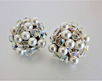 Vintage Faux Pearl Aurora Borealis Cluster Earrings Jewelry | Round Cluster Clip Ons | Glass Cluster Jewellery | Jewelry Gift for Her