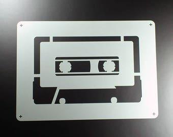 Stencil cassette Tape Mixtape Retro-BE39