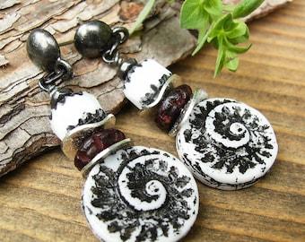 Unique Black & White Earrings, Czech Glass Nautilus Shell Drops, Boho Gunmetal Spiral Jewelry, Bold Nature Inspired Nautical Dangles, Gift