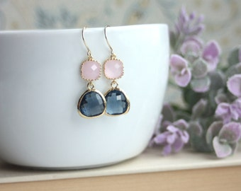 Pink Sapphire Blue Earrings, Pink Bridal Earring, Blue Wedding Earrings, Dangle Earrings Bridesmaids Gifts. Pink and Navy Blue Wedding. Sis.