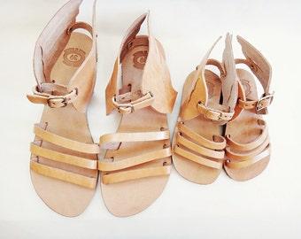 Mom & Me / Hermes Sandals /Genuine Greek High Quality Leather Sandals with Stripes/Natural Color Leather/Slingback Slides Strap Sandals
