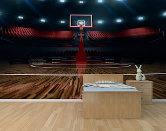 Basketball court, Photo Wallpaper, Removable Wall Wallpaper, Peel and Stick, Non Woven, Wall Mural, Wall Decal, Wall Mural, Sport Arena W#18