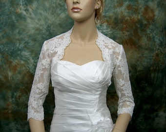 Lace bolero, wedding bolero, wedding topper, bridal jacket, Ivory 3/4 sleeve bolero, alencon lace bolero