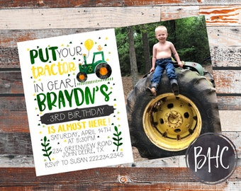 Tractor Birthday. Tractor Birthday Invite. Farm invite. Tractor Invitation. Farm Birthday Invitation. farm birthday party. With Picture.