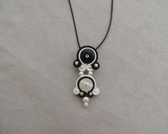 Silver Pendant Necklace embroidered black and white soutache and rhinestones