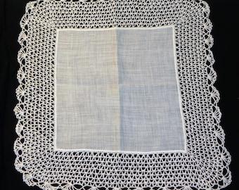 Vintage White Linen Hankie with Wide Crochet Edge Wedding Hankie