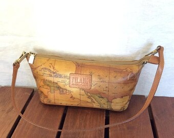 Vintage world map etsy 15 off vacation sale alviero martini authentic world map tan canvas and tan leather trim gumiabroncs Images