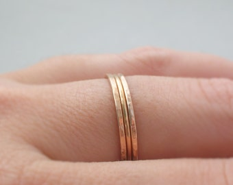 Rose Gold Rings smooth and hammered 3 delicate stacking rings thin gold ring delicate rose gold ring band thumb ring, midi ring