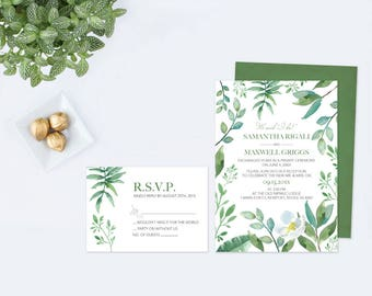 Greenery WATERCOLOR WEDDING INVITATION, Wedding Invitation Printable, Wedding Invitation Set, Eloped, Invitation Template, Instant Download