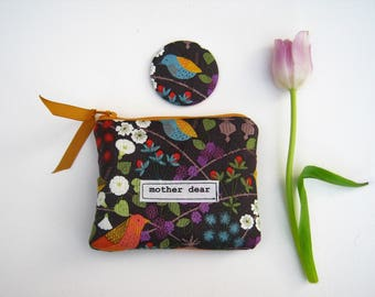 Hedgerow Birds hand made purse for  mum, mother dear, perfect Mother's Day treat, small make up bag, coin purse, matching mirror