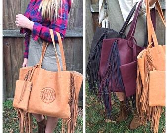 Monogrammed fringe trim large purse