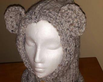 Hand knit Bear cowl/hood.