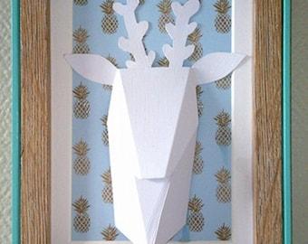 Trophy deer origami frame