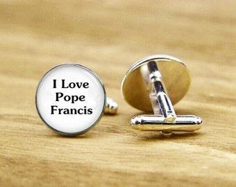 i love pope francis cufflinks, pope cufflinks, personalized cufflinks, custom wedding cufflinks, round, square cufflinks, tie bars, or set