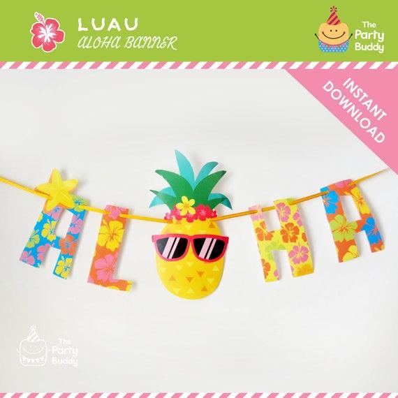 Aloha Party Banner DIY Digital Printable PDF Hawaiian Luau