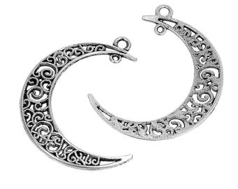 5 Antique Silver Crescent Moon Pendants 41x36mm (B483a)