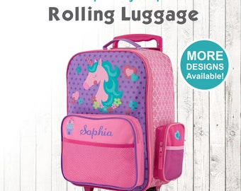 Unicorn Rolling Luggage, Stephen Joseph Kids Luggage, Personalized Children's Suitcase, Embroidered Name, Travel Suitcase for kids, Unicorn