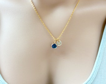 Birthstone necklace,September birthstone necklace,September birthday,Sapphire birthstone,Bridesmaids gift, birthstone,Customizable